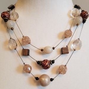 Beaded Natural Tone Necklace